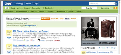 Digg screenshot from snagIt