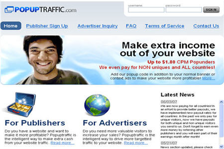 Popuptraffic CPM ad network