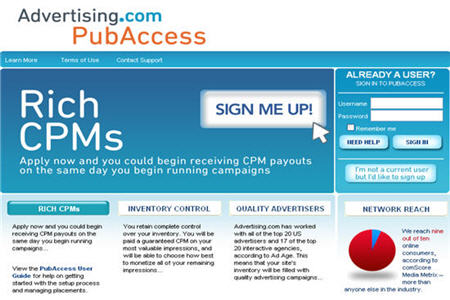 PubAccess Good CPM ad network
